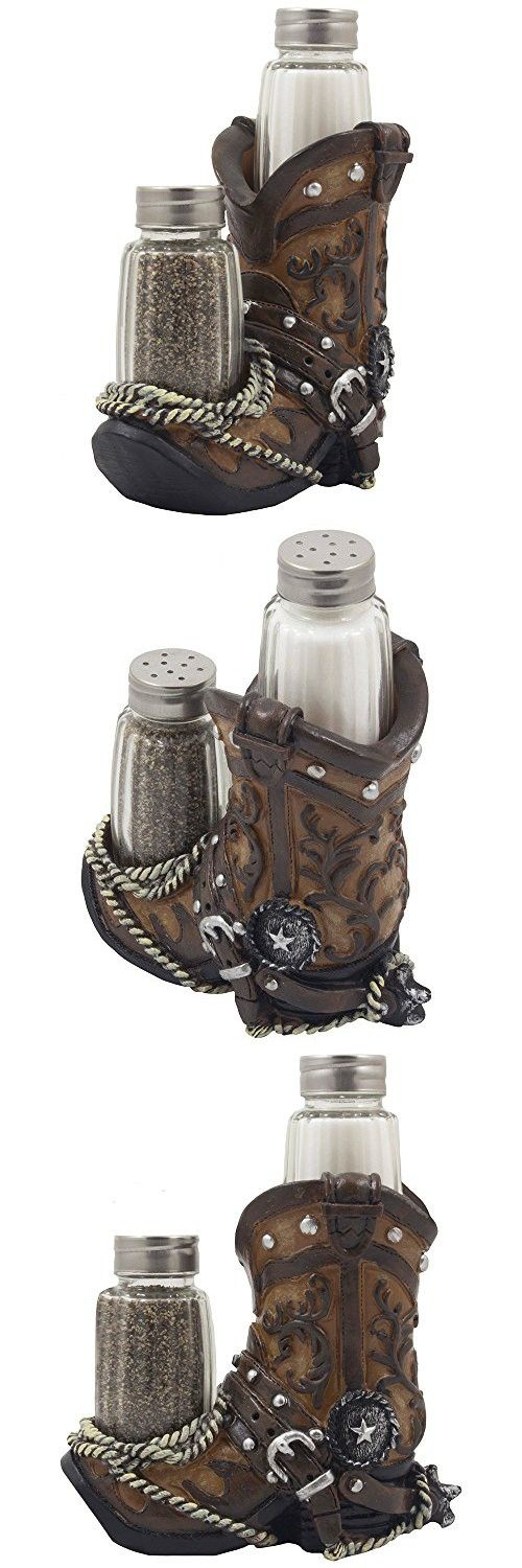 Fancy Cowboy Boot Salt and Pepper Shaker Set with Decorative Display Holder Figurine Featuring Spur & Texas Star for Country Western Kitchen Decor and Table Centerpiece Decorations for Bars or Restaurants As Gifts for Cowboys by Home-n-Gifts