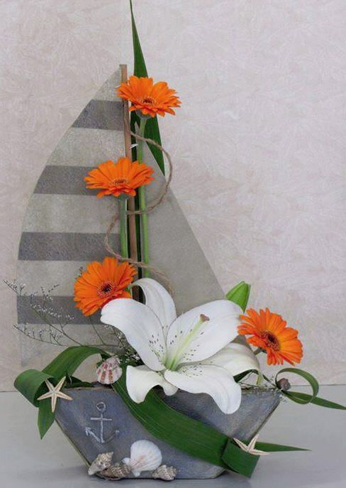 Ship with flowers - Orange gerberas and white lily - Designed by Tanq Koleva. For men or 25th Anniversary