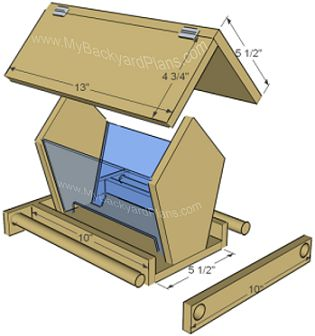 "BirdfeederHow to build a bird feeder (part 1) (part 2)    Material needed:    5 1/2"" x 6' cedar (cedar fence board)    1 1-4"" finish nails    3/8"" dowel    2 hinges"