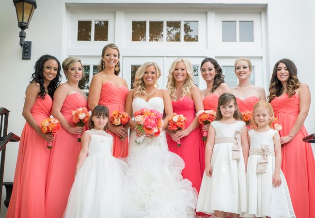 Coral bridesmaid dresses with slightly fiercer coral for MOH's...YES!