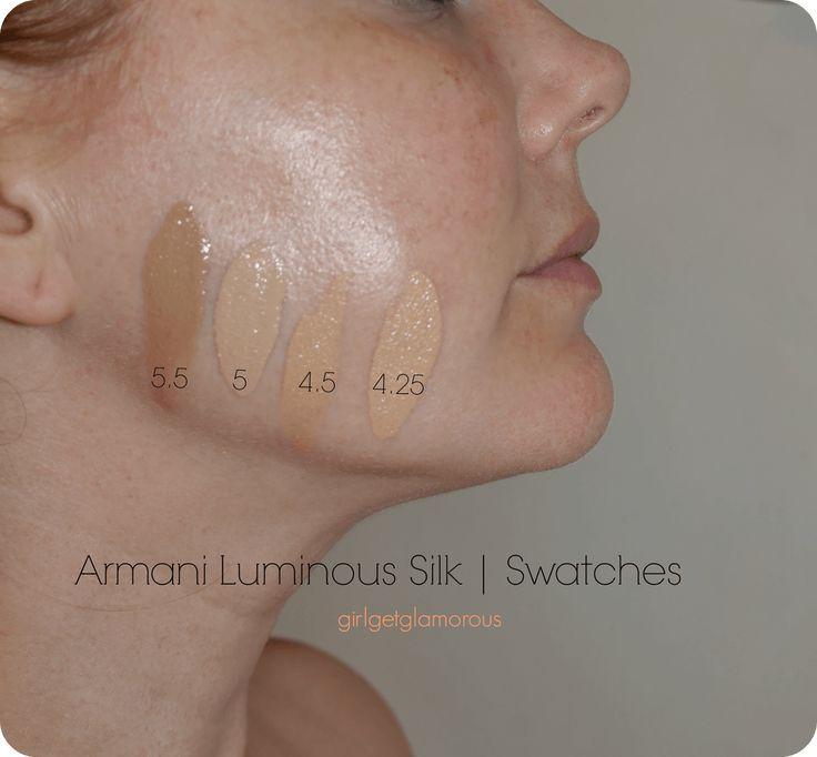 Armani Luminous Silk Foundation Swatches   4.25 – 4.5 – 5 – 5.5