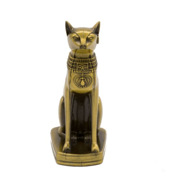 Made of metal for an 6-inch tall statue. Substantially sized and weighted, this statue is a good medium sized display piece that's an eye-catcher. Put her amid the plants in an indoor space or as an altar piece. #egypt #cat #statue