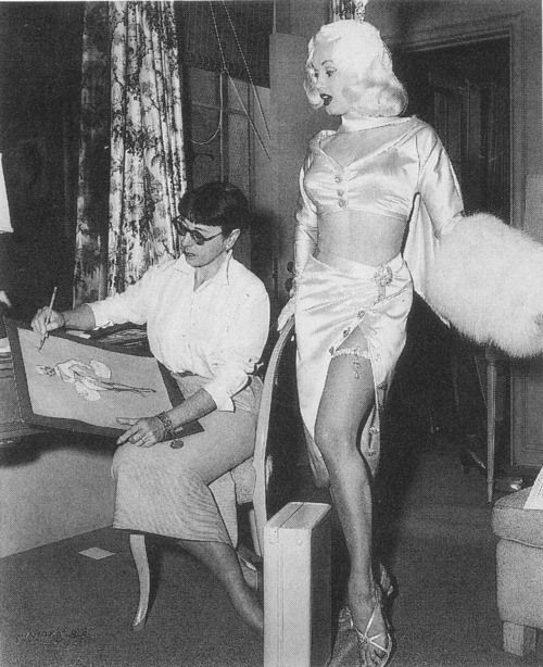 Mamie Van Doren and Edith Head, who was the inspiration for the character Edna from The Incredibles