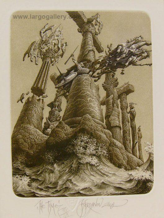 """http://www.largogallery.com/ Julian Jordanov, """"The Time"""", etching, 20,5/15,5"""