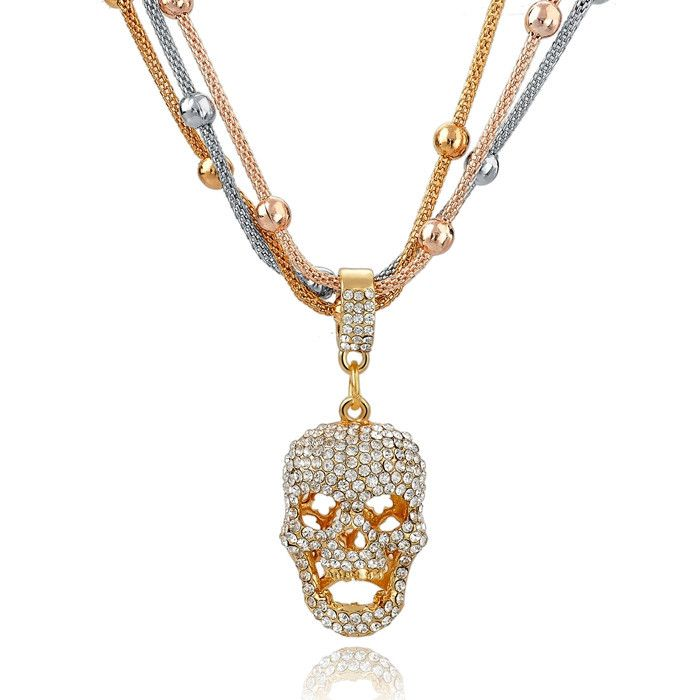 Crystal Gold Skull Pendant Long Necklace