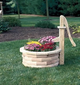 Amish Wooden Water Pump Planter - Large