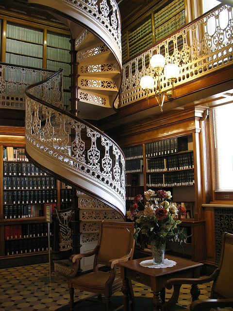 Spiral Staircase, Law Library, Des Moines, Iowa.