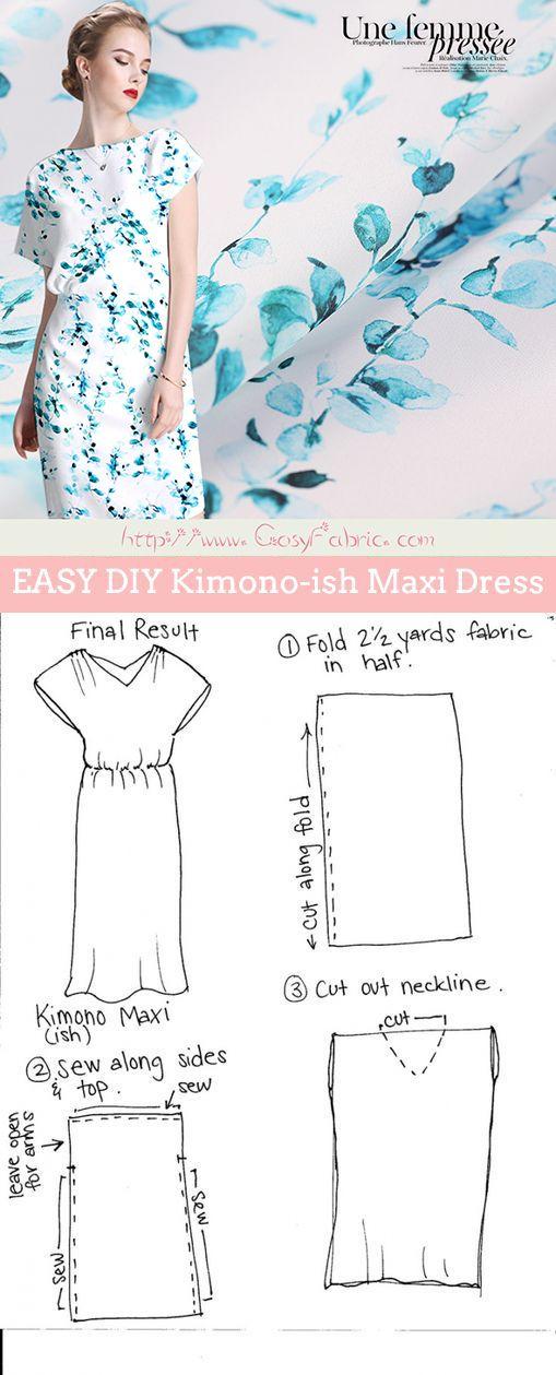 DIY Maxi Dress tutorial using lightweight silk fabrics