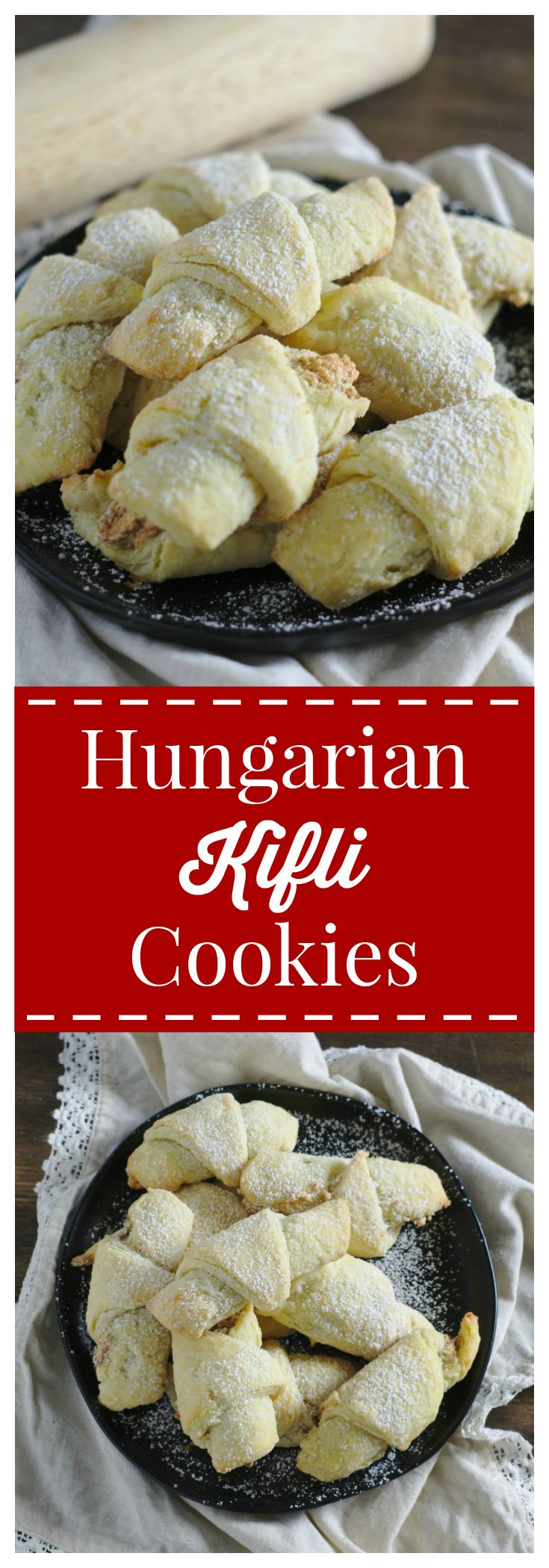 Hungarian Kifli Cookies – Rich and flaky traditional Hungarian crescent cookies filled with a light walnut filling. Perfect Christmas cookies! #hungarian #christmas #cookies #kifli #crescent