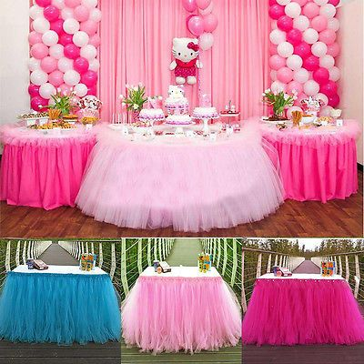 Tulle TUTU Table Skirt Tableware Wedding Party Xmas Baby Shower Birthday Decor