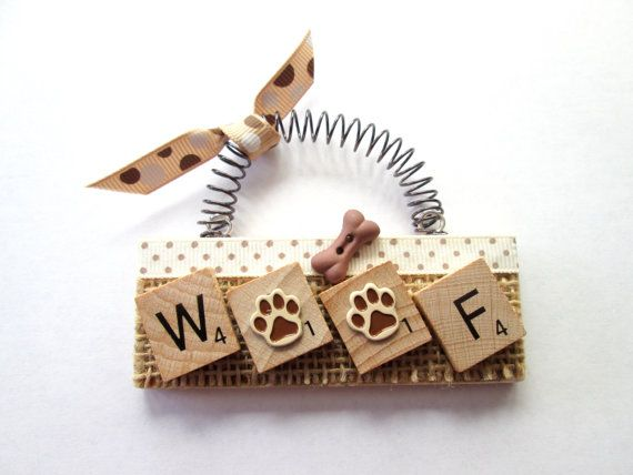 Woof Dog Paws Bone Scrabble Tile Ornament by ScrabbleTileOrnament