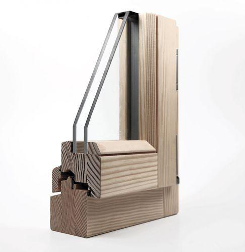 Ventana abatible / de madera / con vidrio doble / acústica ERMETIKPLUS 80 Delineo