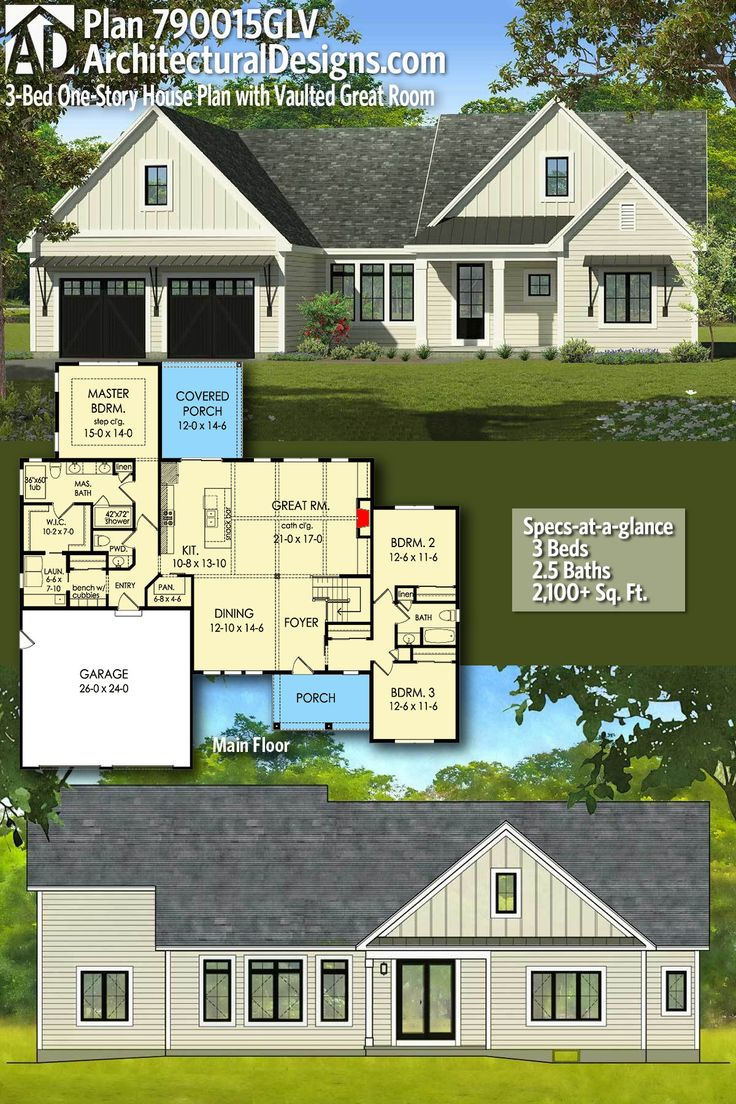 Plan 790015GLV 3 Bed One Story House Plan with