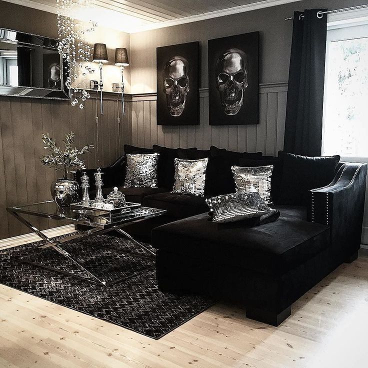 i like the black velvet couch and mirroredsilver decor - Black Living Room Decor