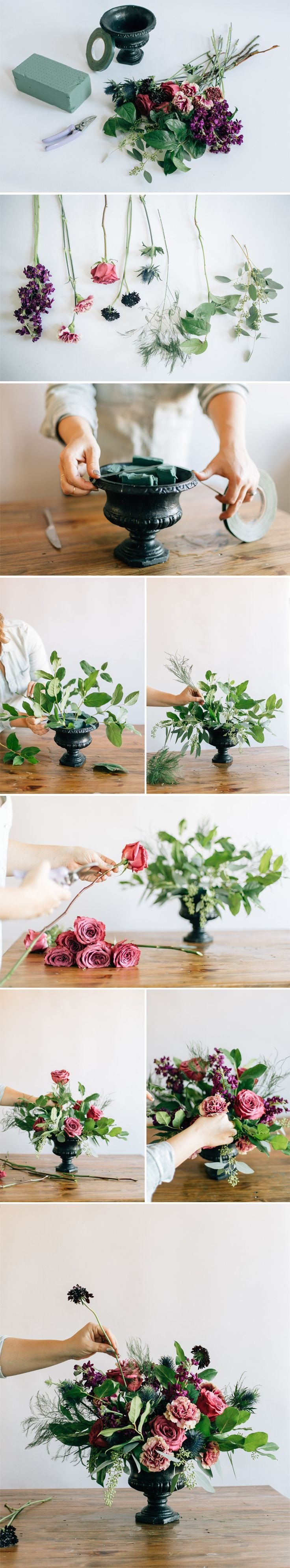 How to make your own DIY urn centerpiece that's not only chic and lush, but won't completely blow your flower budget. Click for full tutorial!