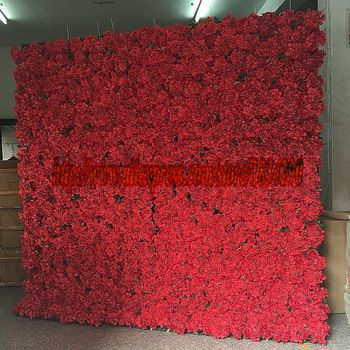 TONGFENG Red 10pcs/lot Artificial silk rose and hydrangea flower wall wedding ba…  – Wall flowers