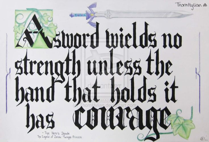 """A Sword wields no strength unless the hand that holds it has courage"" - Hero's Shade Legend of Zelda: Twilight Princess"