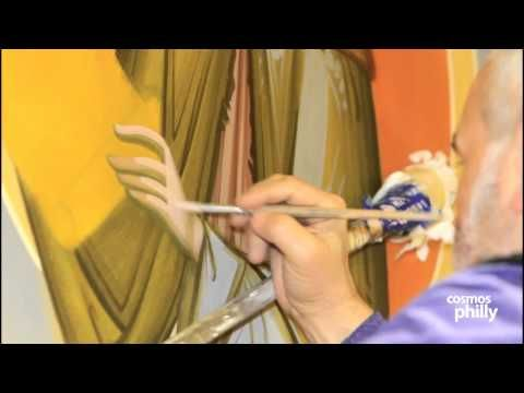 Byzantine Painter Dr. Kordis completes next stage of Iconography at St. Sophia - YouTube