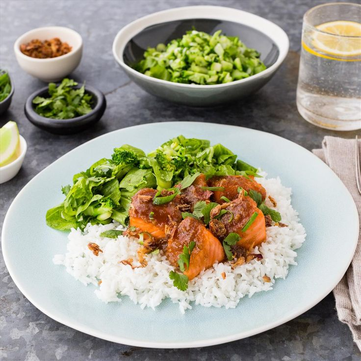 Ca Kho To Salmon with Coconut Rice and Mustard Choy
