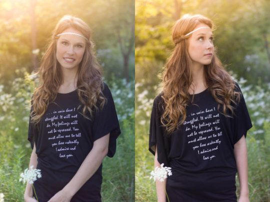 Jane Austen | Pride and Prejudice | Mr Darcy quote | In vain have I struggled. It will not do. My feelings will not be repressed. You must allow me to tell you how ardently I admire and love you | 50 awesome literary t-shirts for book lovers