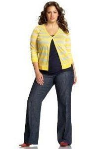 Another great outfit!  The vertical neck & open shirt create great sense of elongation.  love the yellow too.  Old Navy Plus Size Clothing