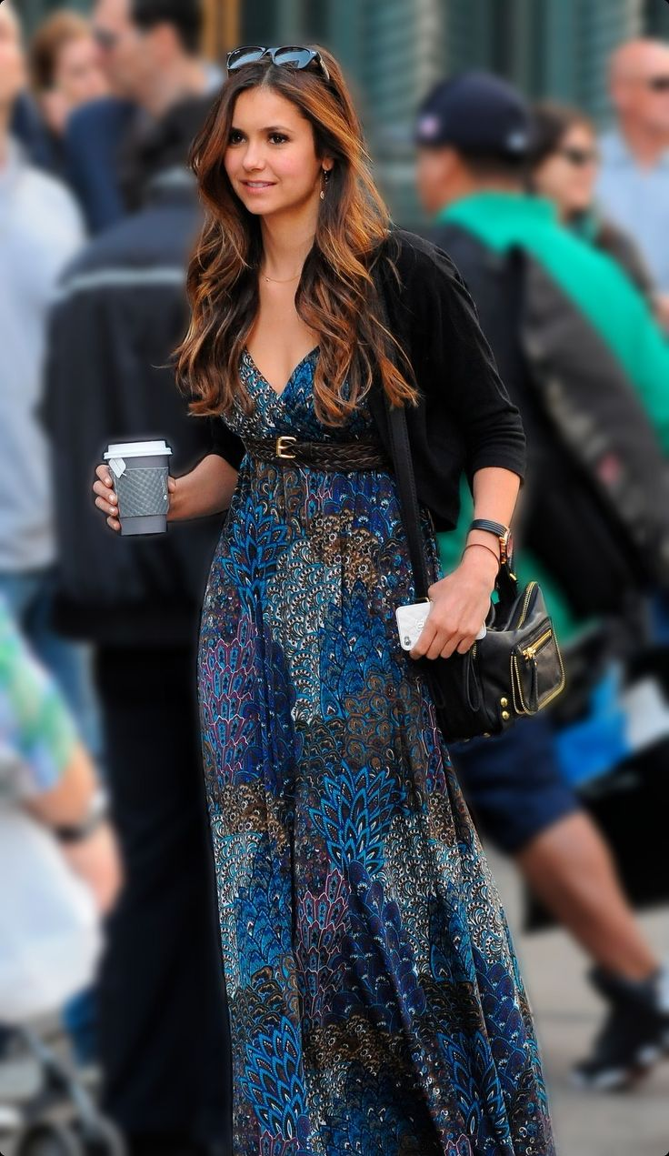 Maxi Blue and Printed #Dress from street-style-chic.tumblr.com