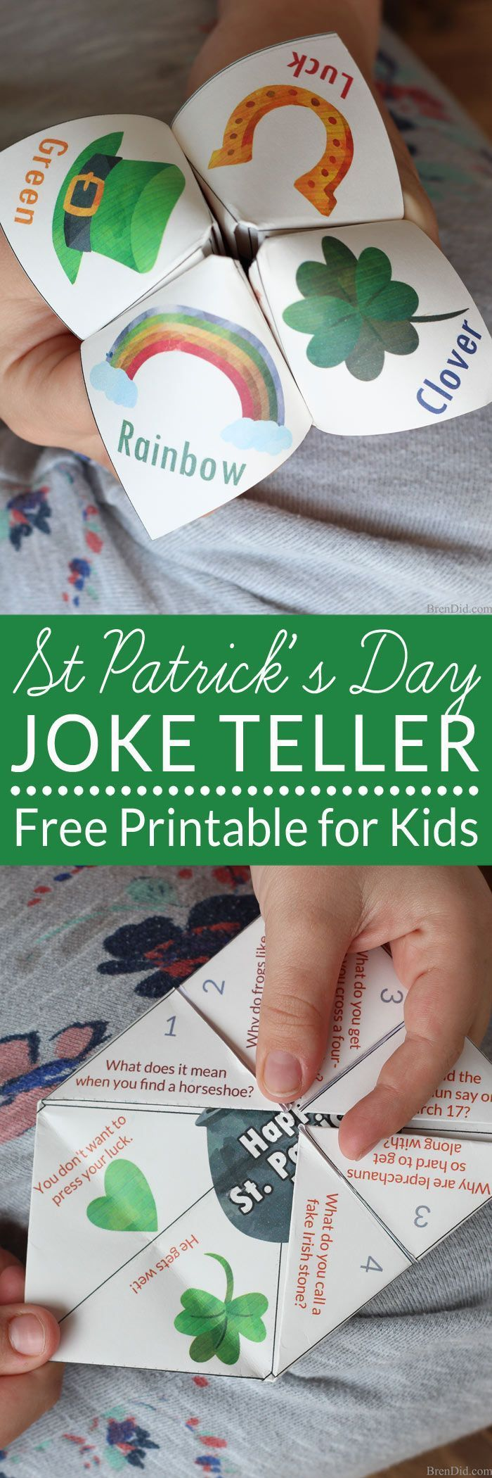 A joke teller is a great St. Patrick's Day treat for kids. The free printable project (with easy folding instructions) takes less than 5 minutes to complete. The joke teller (sometimes called a cootie catcher or fortune teller) contains 8 fun St. Patrick's Day jokes for kids and fun Saint Patrick's Day designs. It's the perfect non-candy treat for all ages.