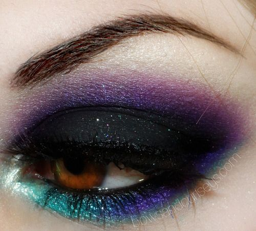 One of my FAVORITE makeup techniques is to do a super dark whole eyelid color such as black and then blend out a bright color.. makes a really cool, unique smokey look. :)