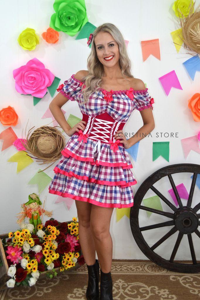Vestido Xadrez/Pink - Caipira Chic - Cristina Store