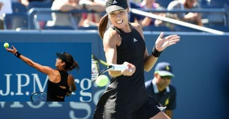 Wonderful cutouts in the back of this all-black look #Adidas #Adizero #AnaIvanovic US Open 2014