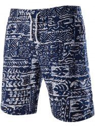 Loose Fit Lace Up Printed Boardshorts - PURPLISH BLUE