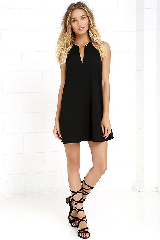 Chic Black Dress - LBD - Black Shift Dress - Gold Bar Dress - $46.00