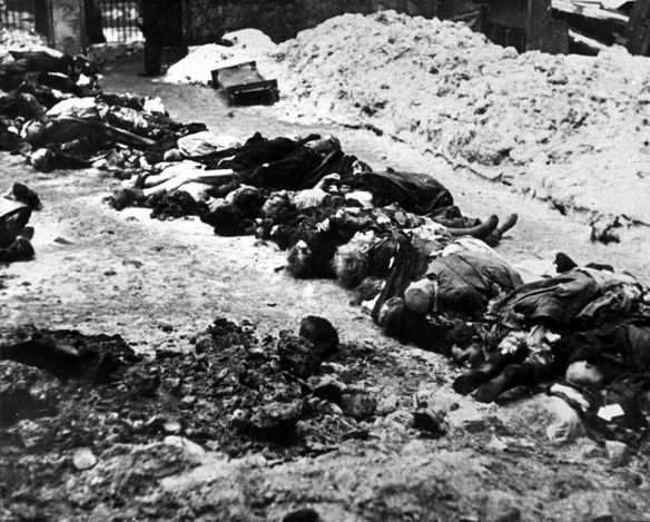 Hungary, Bodies of Jewish men, women and children, victims of the Arrow Cross Party, on the ground. - Hungary, Persecution of Hungarian Jews, 1938-1945 (Part III).