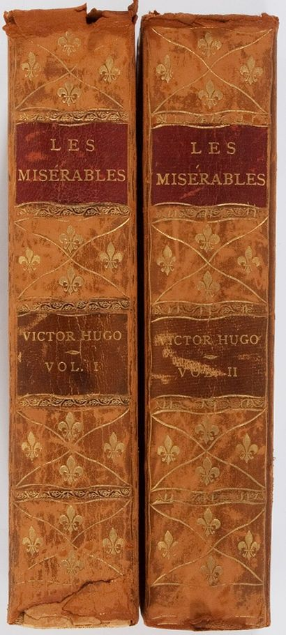 Victor Hugo. Les Miserables. Thomas Y. Crowell, 1887. Illustrated. Two octavo volumes. Early edition. Contemporary three-quarter leather over marbled boards.
