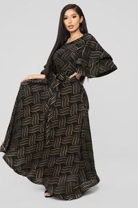 8f83ebc73f2b In The Groove Printed Maxi Dress - Black/Gold | shopping inspiration ...