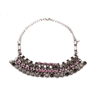 #PINKO - Belcari  nickel collar silver metal and pink opal gems - Elsa-boutique.it <3