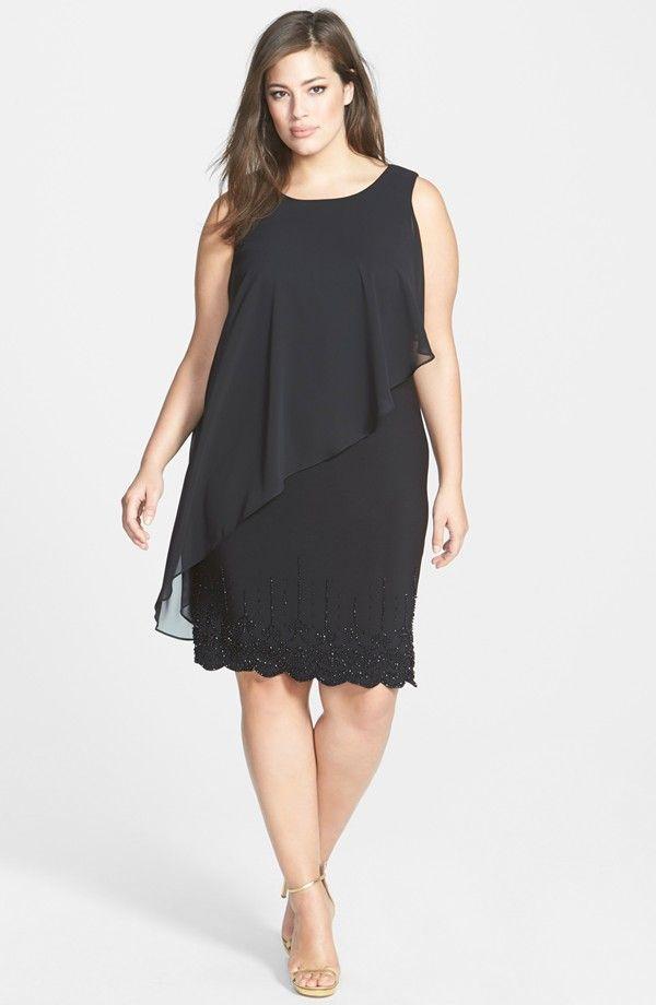 Chiffon Overlay Dress with Beaded Hem (Plus Size)