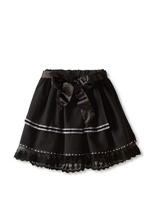 64% OFF Mini Treasure Kids Girl's Violet Layered Skirt With Ribbon (Black)