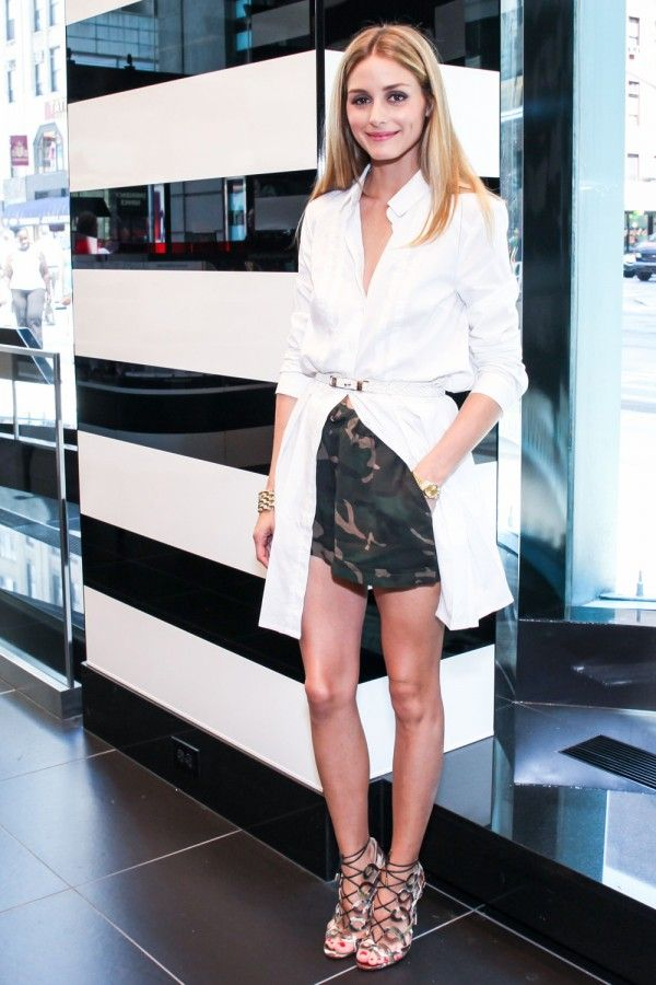 Olivia Palermo In Camo Shorts at the opening of a new Sephora store in New York City