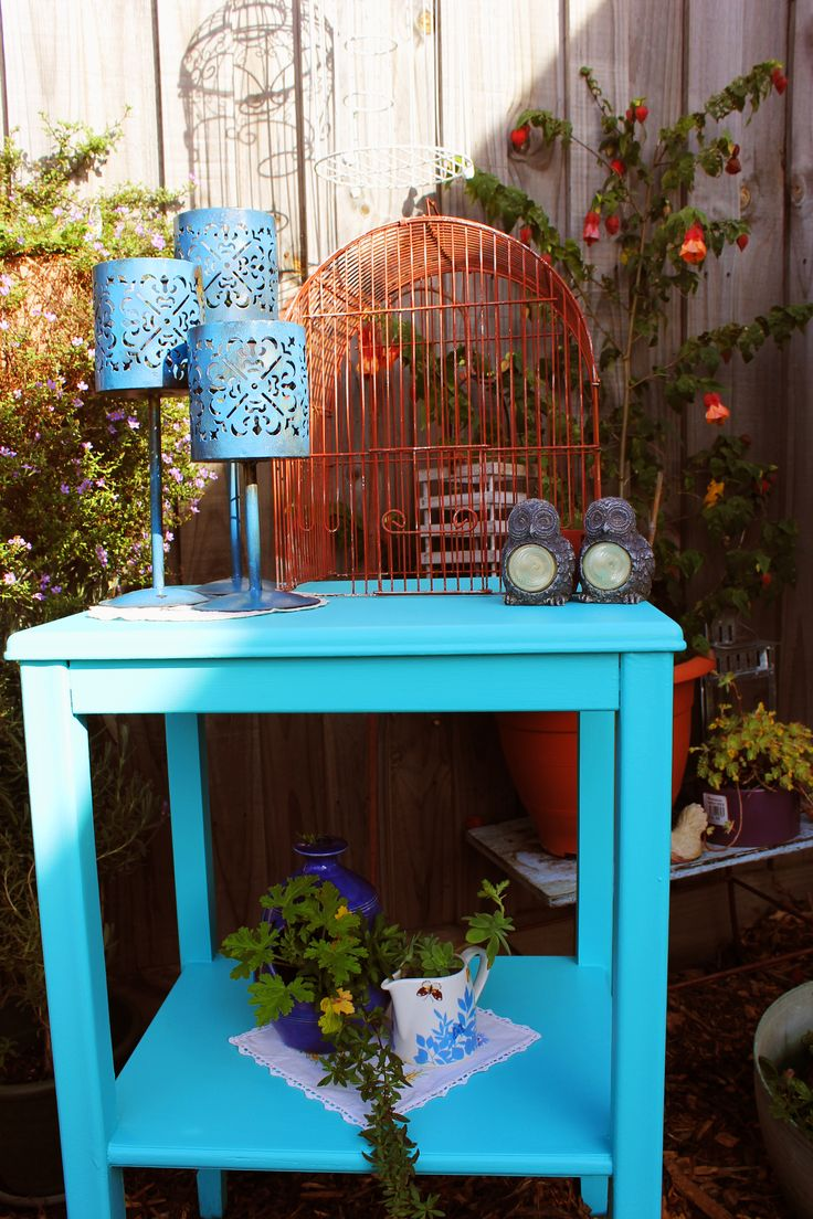 Aqua wooden pre-loved side table with shelf. $40 SOLD