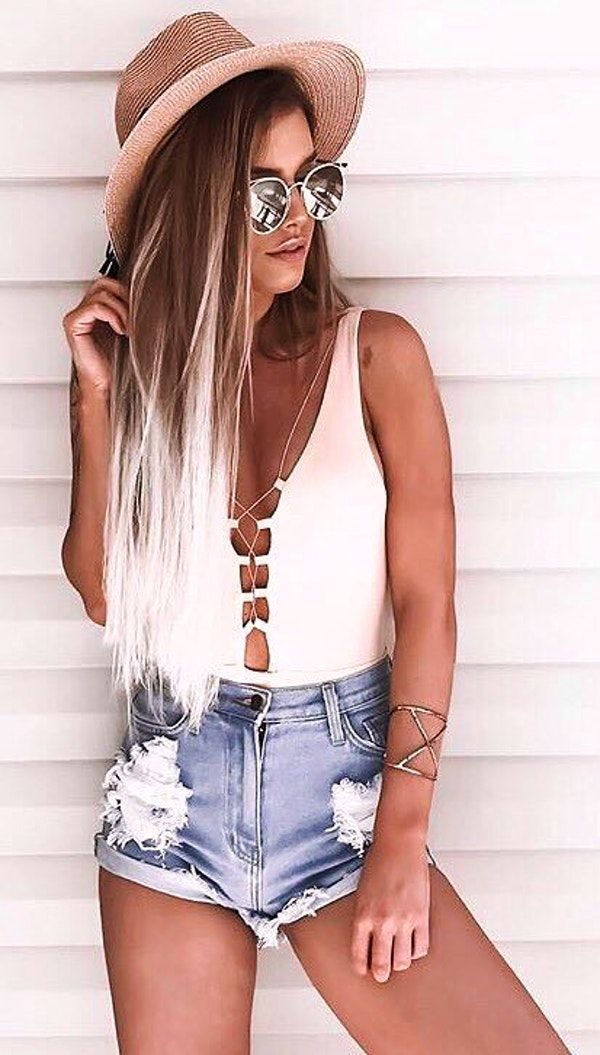 6dab1e99234  summer  outfits Mocha Hat White Tie One Piece Swimsuit Ripped Denim Short