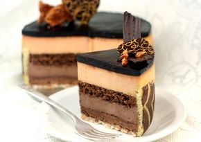 Peanut Butter and Chocolate entremet.(Make custard with cream and yolks. Add choc to half of it and PB to the other half.) Click for recipe and instructions.