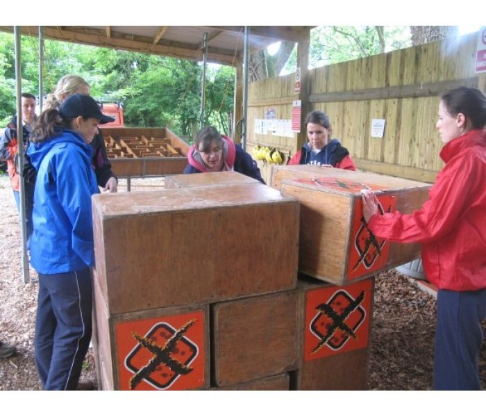 Survivor Challenges = Cubes! Team must maneuver large pieces together to form one giant cube.
