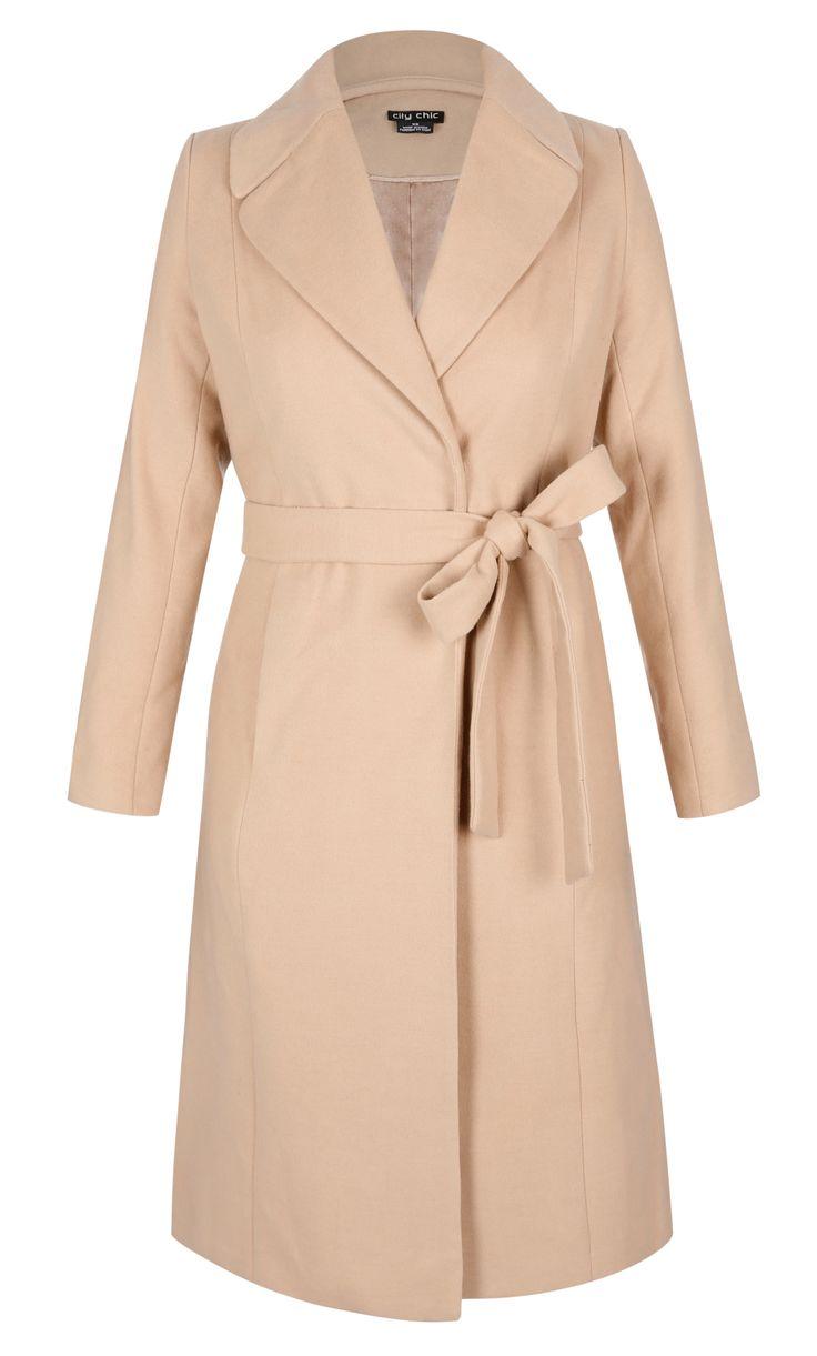 City Chic - LONGLINE WRAP COAT - Women's Plus Size Fashion