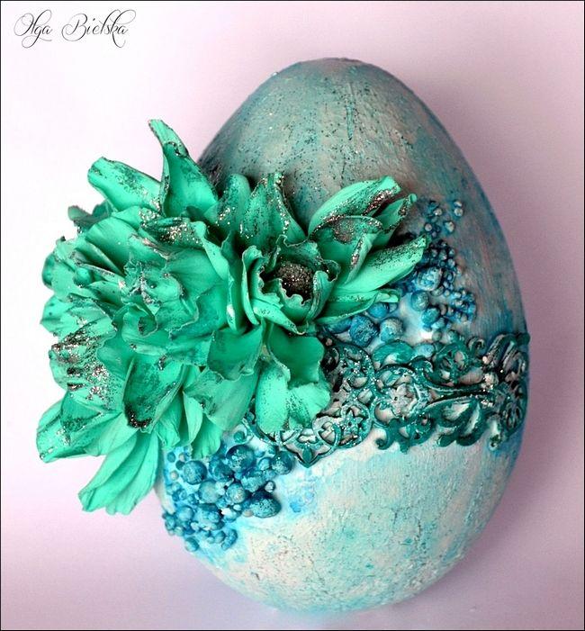 Wielkanoc mixed-media jajko, pisanka.