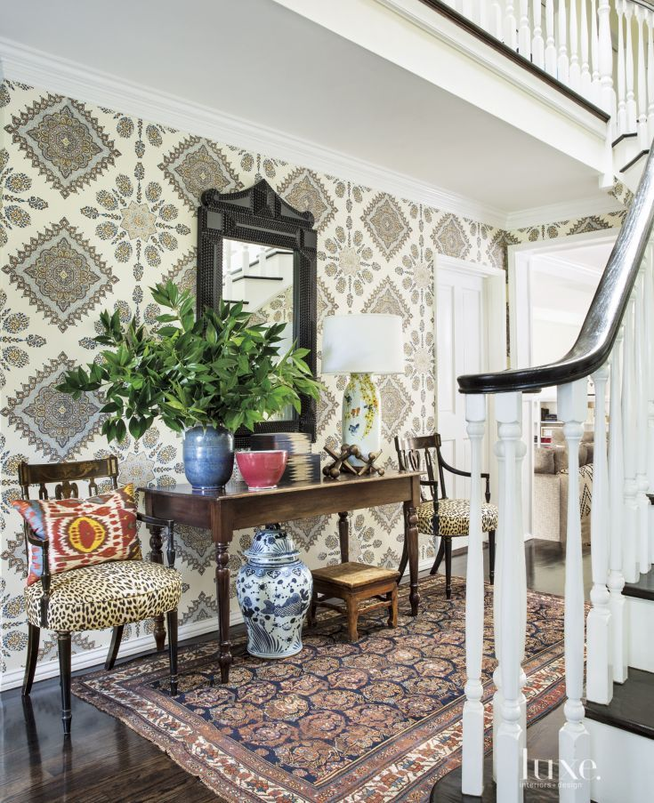 Eclectic Multi-Colored Foyer with Patterned Wallpaper