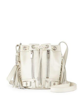 Rider Small Fringe Bucket Crossbody Bag, White by Saint Laurent at Bergdorf Goodman.