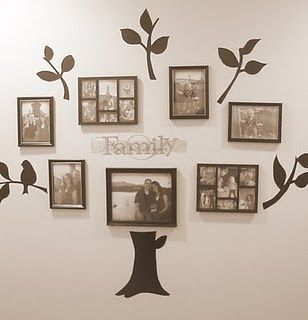 Family tree made with painted contact paper and used as for Family tree picture wall ideas