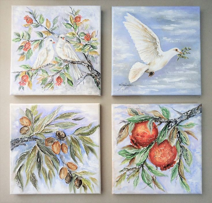 Pigeons Olive branch and Pomegranates,Set of 4 paintings,Symbolist paintings,Wedding gift,Mixed Texture paintings,Original Mediterranean Art