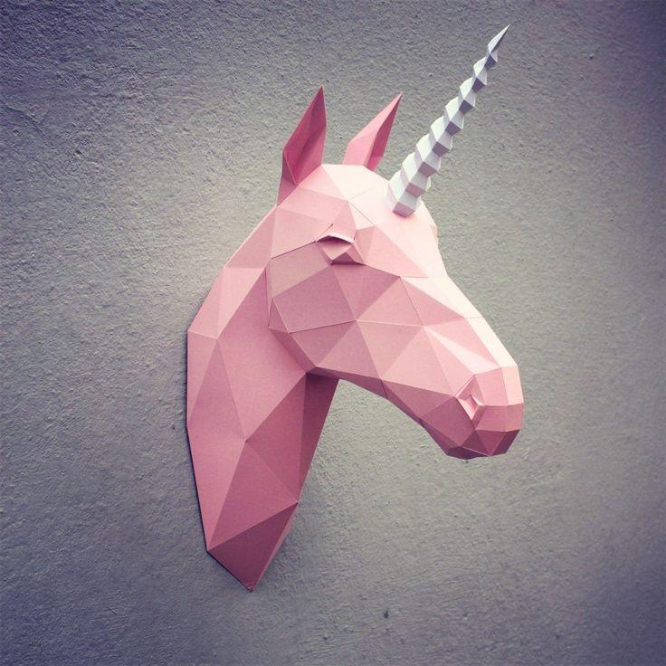 Papercraft unicorn head printable DIY template от WastePaperHead